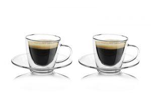 2er Set doppelwandige Espressotassen mit Untertassen ca. 80ml Boral