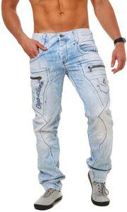 Cipo & Baxx Herren denim Jeans Hose mit aufgepatchen Oberschenkel-Taschen und Kontrast Ziernähten Vintage Look Pants Straight Cut Leg Regular Fit, Grösse:W34/L32, Farbe:Hellblau (CD272)