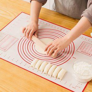 Silikonmatte Silikon Backmatte Baking Mat BPA frei Nonstick mit Messungen Fondant Teig Gebäck Backmatte Teigmatte Wiederverwendbar für Fondant Gebäck Pizza Matte, 60x40cm Rot