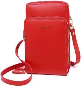 Handy Umhängetasche - Leder Frauen Brieftasche Retro Schultertasche Klein Tasche Geldbörse reisepass Handytasche mit Kartenfächer Verstellbar Abnehmbar Schultergurt für Handy unter 7 Zoll (Rot)