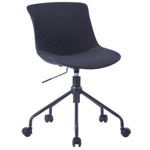 SixBros. Bürostuhl, Kleiner Schreibtischstuhl zum Drehen, Drehstuhl für's Büro oder Home-Office, stufenlos höhenverstellbar & leichtläufig, Sitzbezug aus Stoff, schwarz 7-08R/8177