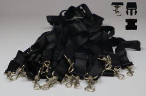 25x Schlüsselbänder schwarz Schlüsselanhänger teilbar 55cm mit Haken
