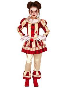 Fiestas Guirca kostüm Clown Polyester rot/weiß Größe 7-9 Jahre