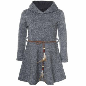 BEZLIT Mädchen Kleid mit Kapuze und Federn Gürtel Anthrazit 128