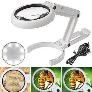 Lupe mit LED Tischlupe Leselupe mit Ständer 5x und 10x Fach Vergrößerung Arbeitslupe Leselupe Vergrößerung Glas