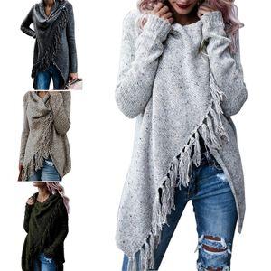 Mode Frauen Winter Lange Ärmel Gestrickt Sweatshirt Strickjacke Damen Fransenmantel Pullover Outwear Farbe: Hellgrau, Größe: M