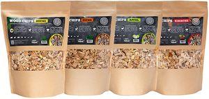 Räucherchips von JSM®   100% Natürliche Smoker-Holzchips für besondere Rauch- und Geschmackserlebnisse   Für alle Grills geeignet   Extra große Packung - 1 kg (4er SET)