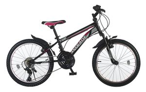 20 Zoll Kinder Mädchen Fahrrad Mountainbike Mädchenfahrrad Kinderfahrrad Mädchenrad MTB Bike Rad Gabelfederung Federgabel 21 Gang Shimano TIGER Schwarz Pink