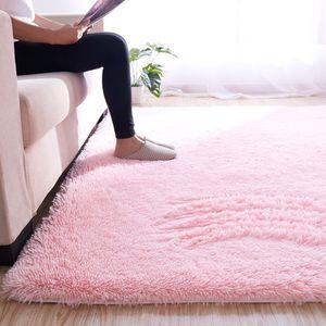 CANDeal Hochflor Shaggy Teppiche für Wohnzimmer, Esszimmer, Gästezimmer, Jugendzimmer, Babyzimmer mit 4 cm Florhöhe einfarbig Wohnzimmer Teppiche, Rosa