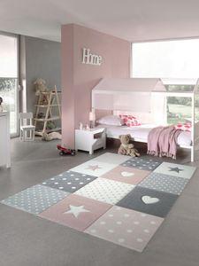 Kinderteppich Spielteppich Teppich Kinderzimmer Babyteppich mit Herz Stern in Rosa Weiss Grau Größe - 120 cm Rund