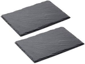 Schieferplatten 30 x 20cm - 2er Set  - rechteckig