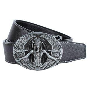 Trachtengürtel Ledergürtel mit Oval Design Schnalle Cowboy Unisex Trachtengürtel Schwarz Indianerhäuptling wie beschrieben