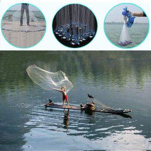 Fischernetz Wurfnetz Fisch Netz Gussnetz Abfischen Multifilament mit Sinker 5.4M (18ft)