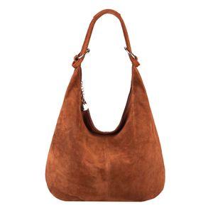 Italy Damen XL Leder Tasche Schultertasche Wildleder Shopper Umhängetasche Hobo-Bag Beuteltasche Braun
