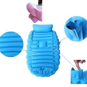 Aufblasbare Babybadewanne Tragbarer Pool Kid Infant Toddler Faltbares Duschbecken Duschbecken (Blau)