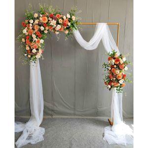 2M DIY Hochzeit Eisen Bogen Tür Party Bouqute Deko Garden Blume Pflanzen Ständer Gold