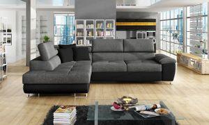 Mirjan24 Ecksofa Cotere, Eckcouch mit Schlaffunktion und Bettkasten, L-Form Sofa vom Hersteller, Wohnlandschaft  (Soft 011 + Lux 06 + Soft 011, Seite: Links)