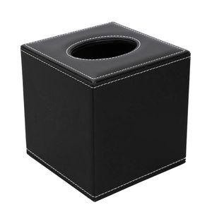 Modern Tissue Boxen Taschentuchspender Kosmetiktücherbox Taschentuchbox Tücherbox aus Kunstleder Farbe Schwarz