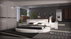 Modernes Design Rundbett Night mit edler LED Beleuchtung in weiss