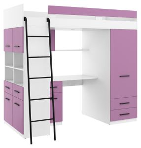 Hochbett LEVEL L Etagenbett Schlafzimmer-Sets Schreibtisch Kleiderschrank Regal Weiß Lavendel