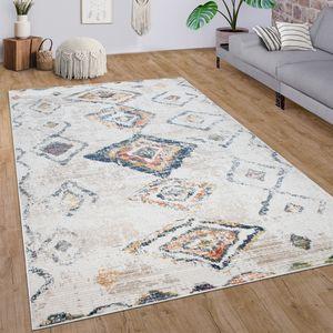 Teppich Wohnzimmer Kurzflor Modernes Rauten Ethno Boho 3D Muster In Creme Bunt, Grösse:160x230 cm