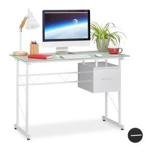 relaxdays Schreibtisch Glas mit Schublade