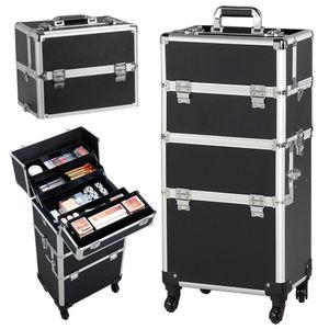 Yaheetech Kosmetikkoffer Friseurkoffer Pilotenkoffer schminkkoffer Beautycase 60 L - 4 Räder - schwarz, Aluminium