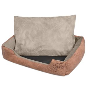 vidaXL Hundebett mit Kissen PolyurethanKunstleder Größe L Beige