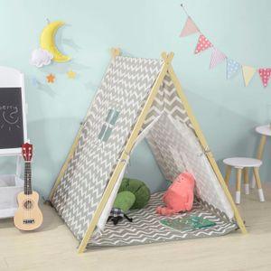 SoBuy OSS02-HG Spielzelt Zelt für Kinder mit 2 Türen und einem Fenster Spielhaus hellgrau BHT ca.: 104x110x100cm