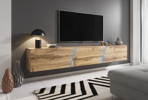 TV-Unterteil in Wotan Eiche hängend oder stehend Lowboard Space inkl. RGB Beleuchtung 240 x 35 cm