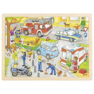goki 57429 Einlegepuzzle Polizeieinsatz 40 x 30 x 0,8 cm, Holz, 56 Teile, bunt