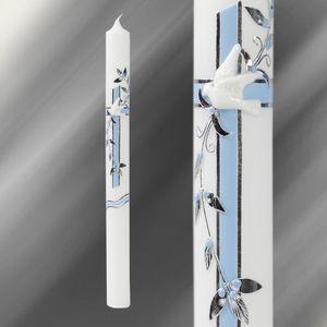 Kerze Kommunionkerze Taufkerze 35/400 Blau Silber C102/NS