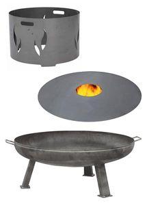 Feuerplatte Grillplatte + Feuerschale + Aufsatz - Set XXL 600 Set 1