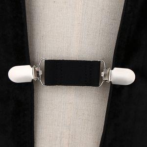 Frauen Damen Elegant Cardigan Sweater Clips Gurtband Bluse Hemdkragen Clip Schwarz 6cm Beiläufig Pullover-Clip