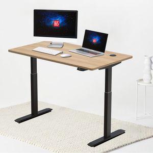 Hi5 Elektrisch Höhenverstellbarer Schreibtisch mit Rechteckiger Tischplatte (140 x 70CM) Gaming Tisch Home Office mit Eiche Tischplatte und schwarzem Rahmen