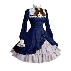 Lady Women Lace Langarm Bowtie Cosplay Kostüme Partykleid Mit Bogen Gothic Größe:XXXL,Farbe:Blau