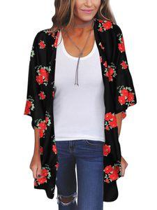 Damen Chiffon Beach Cardigan Bikini Bluse Bedruckte Wrap Beachwear,Farbe: Rot,Größe:XXL
