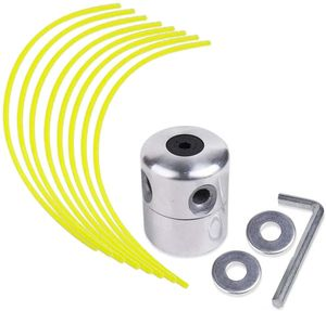 Aluminium Fadenkopf für Benzin Motorsense Freischneider Doppelfadenkopf Fadenspule Nylonfaden(1 Fadenkopf+ 8 Mählinie)