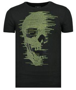 Rhinestones Skull Glitters - T- Shirt Totenkopf Glitzer - Schwarz - M