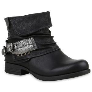 Mytrendshoe Damen Biker Boots Nieten Stiefeletten Metallic Schnallen 811829, Farbe: Schwarz, Größe: 37