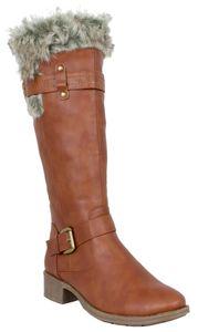LOVENESS, Damen Fellstiefel Stiefeletten gefuetterte Stiefel Boots, Farbe braun, EU 39