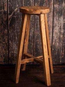 Teakholz Teak Holz massiv Barhocker rund Semar aus einer echten Teakholz