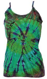 Farbenfrohes Goa-Batik Top, Batiktop - Grün, Damen, Baumwolle, Tops & T-Shirts