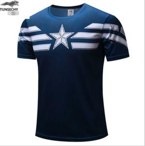 Jungs Herren T-Shirt Captain America Marvel Heros Superhelden Tee Blau Rundkragen Kurze Ärmel T-Shirt, Größe: L