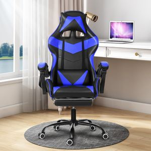Meco Bürostuhl Racing Gaming Schreibtischstuhl Kunstleder mit Fußstütze Höhenverstellbar 90 ° -150 ° Verstellbare Rücklehne (Blau)