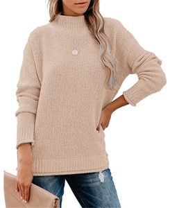 ASKSA Damen Pullover Langarm Rollkragenpullover Winter Elegant Strickpullover Lässige Lose Pulli Oberteile(Khaki,M)
