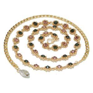 Mllaid Damen Multicolor Strass-Gürtelkette Taillenkette Damen Diamant-Taillenkette