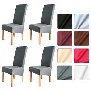 4 stücke Einfarbig Stuhlabdeckung Stretch Stuhl Protector Rutschfeste Abnehmbare Waschbar für Esszimmerstuhl Hotel Tiefgrau