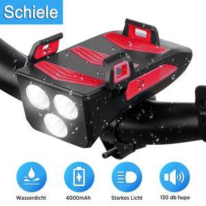 SCHIELE LED Fahrradbeleuchtung, Fahrradlicht 4 in 1 mit  Fahrradhupe, Fahrradtelefon-Powerbank, Fahrradhalterung für Handyhalter, 3 Licht-Modi