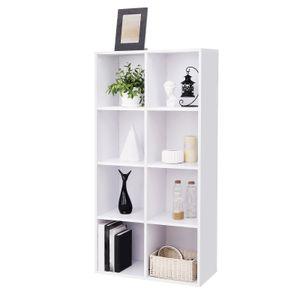 VASAGLE Bücherregal mit 8 Fächern | 129,5x 65,5 x 30 cm | Regal aus Holz | freistehende Schrank | für Büro/ Zuhause | weiß LBC24WT